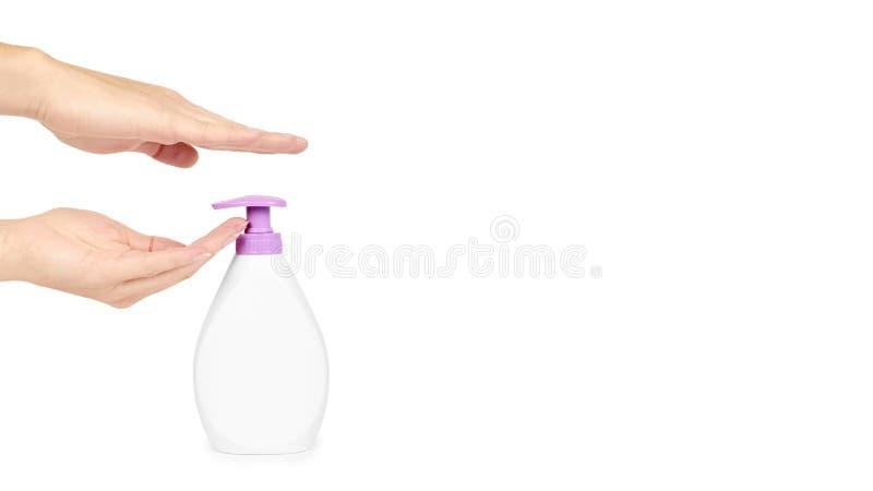 White Hand Sanitizer Soap Dispenser In Hand Isolated On White ...