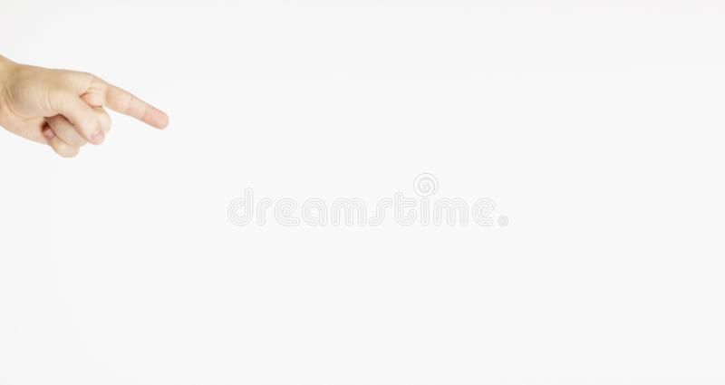 White Hand touching or pointing to something isolated on white background. Close up. High resolution stock photography
