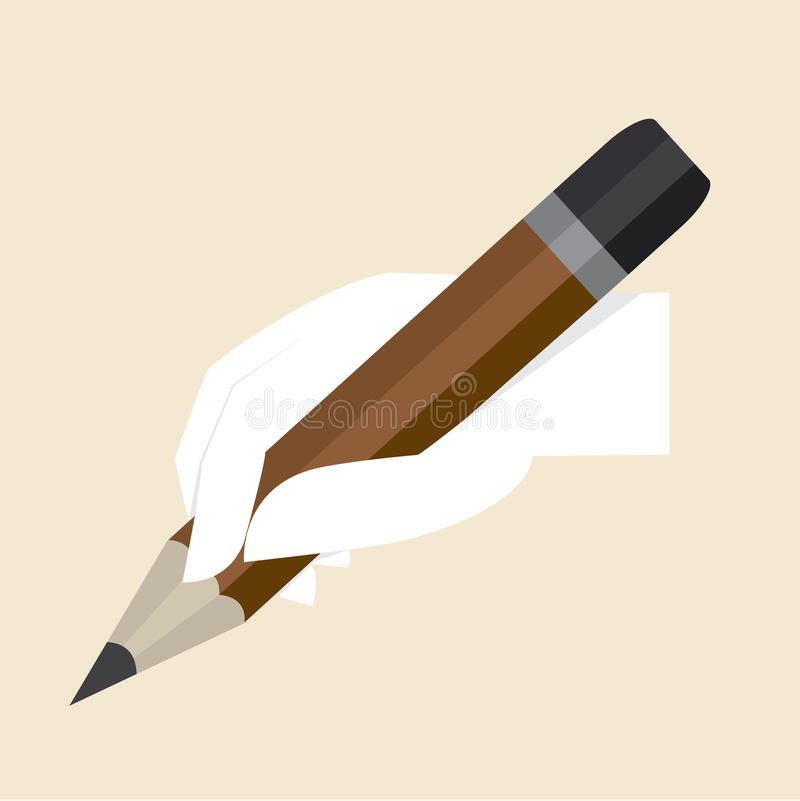 Free White Hand With Big Pencil Stock Photography - 33591642