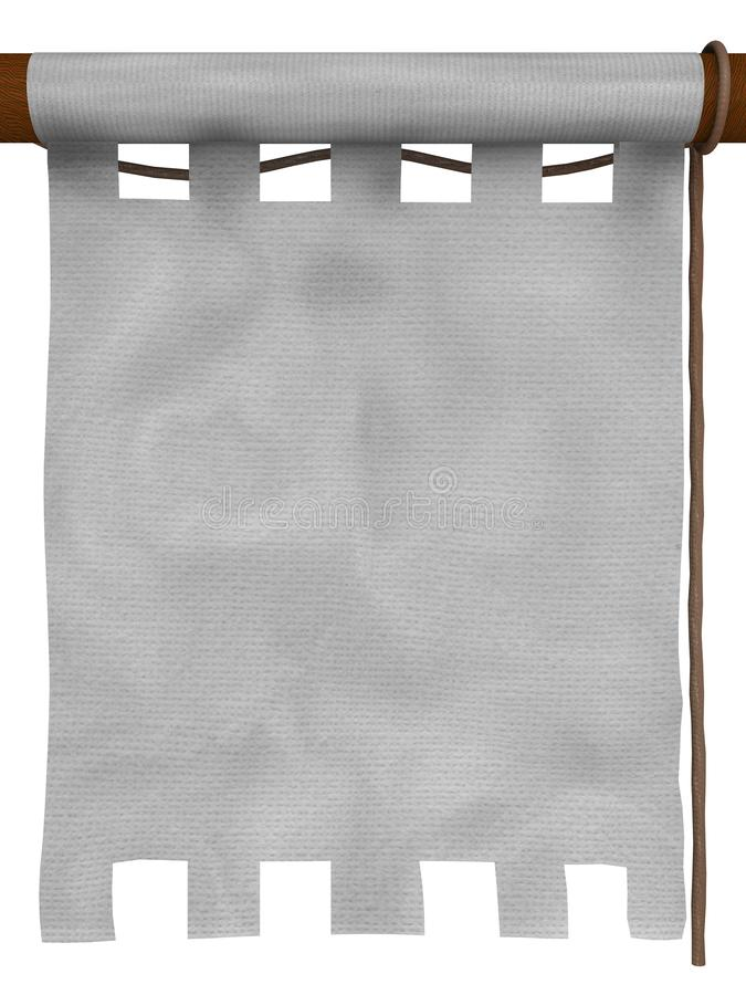 White hanging banner. White medieval-style hanging banner. The empty space in the center can be used to insert your own contents stock illustration