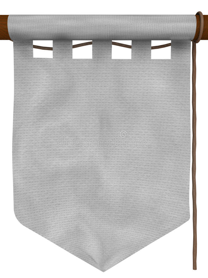 White hanging banner, type 2. Medieval-style hanging banner. The empty space in the center can be used to insert your own contents royalty free illustration