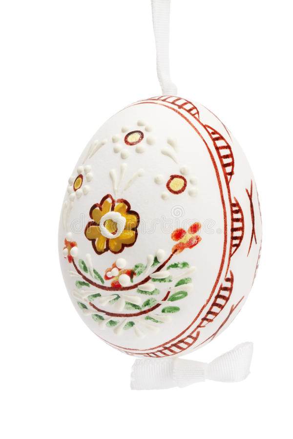 White Hanging Hand Painted Easter Egg Royalty Free Stock Image
