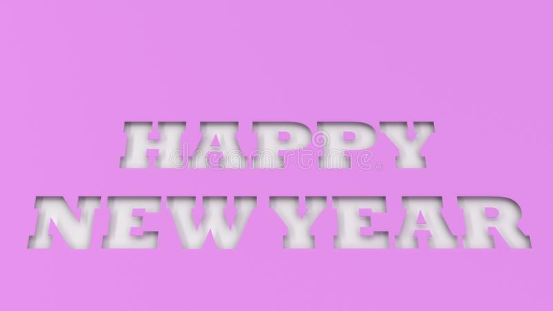 White Happy New Year words cut in purple paper. 3D rendering illustration royalty free stock photography