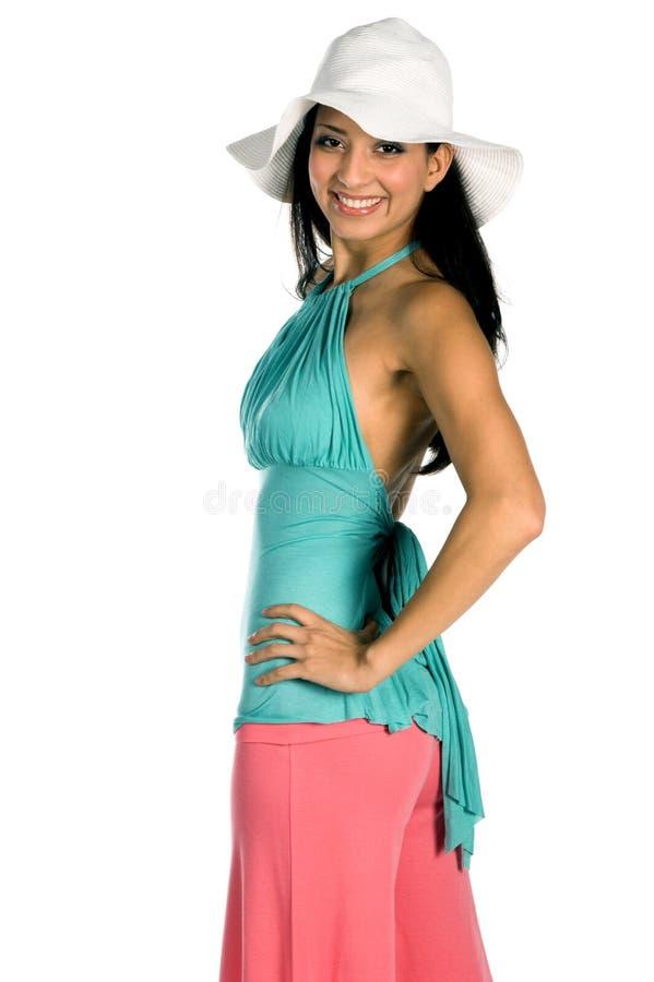 White Hat Latina royalty free stock image