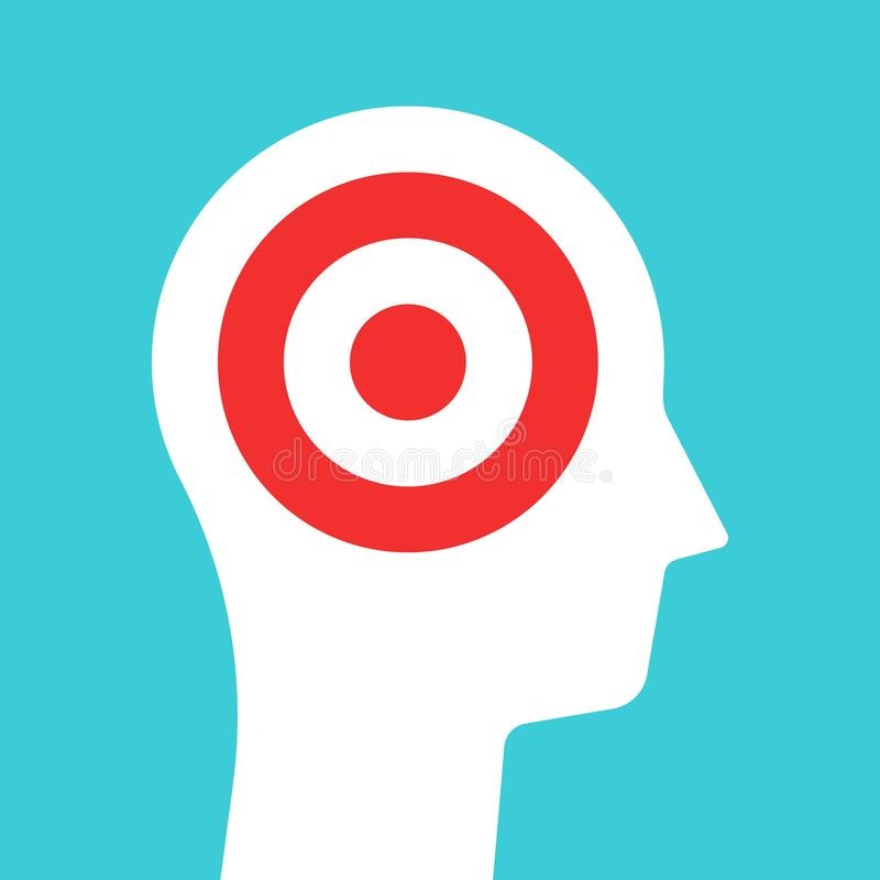 White head silhouette with target inside it. Goal, concentration and purpose concept. Flat design. Vector illustration, no royalty free illustration