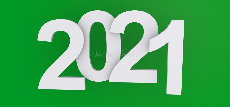 2021 heading. White 2021 heading on green background stock illustration