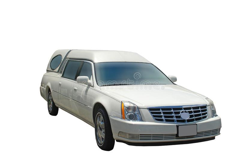 White Hearse Isolated in Sunshine stock images