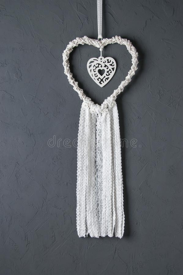 White heart lace dream catcher royalty free stock photos