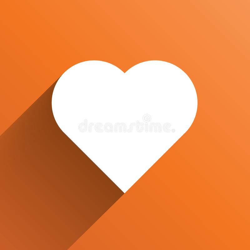 White Heart Long Shadow Icon On Orange Background Symbol Of Love