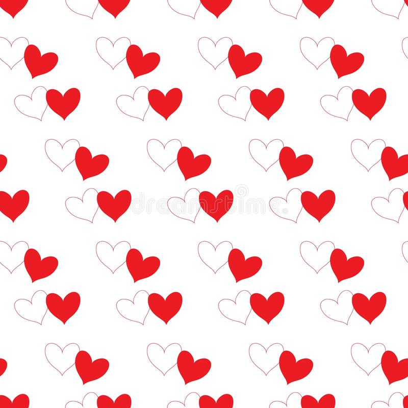 White heart with red outline contour and red fill heart partly overlapping and isolated in a white transparent seamless pattern. Background. Vector illustration stock illustration