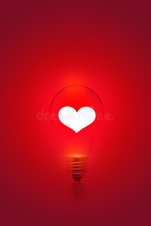 Free White Heart Shape On Red Light Bulb Background, Blank Text Stock Images - 50988334
