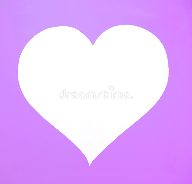 White heart shape on purple background. royalty free stock images