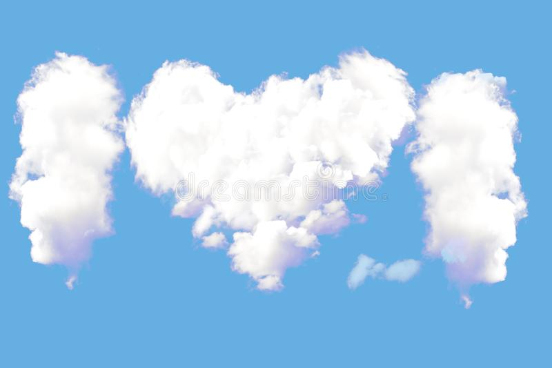White heart-shaped clouds stock photo