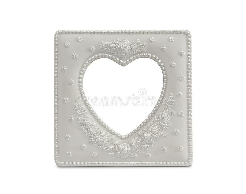 Download White Heart Shaped Frame On White Stock Photo - Image: 7905742