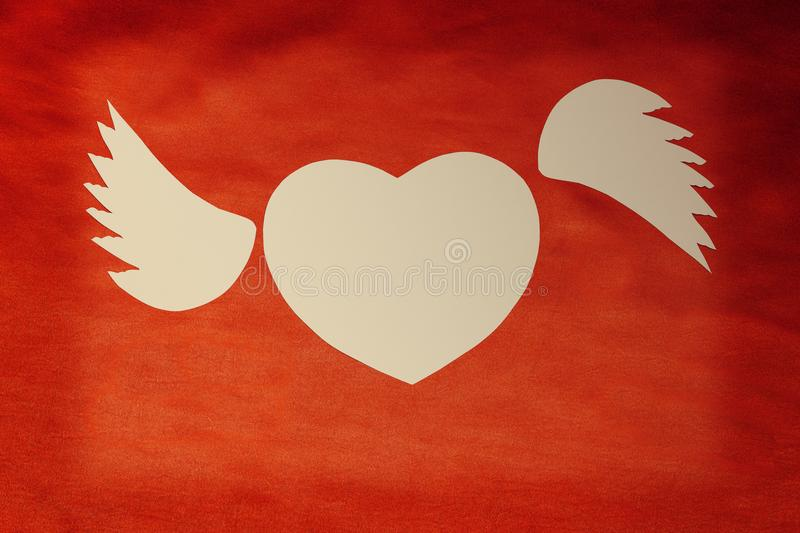 White Heart With Text I Love You On A Red Cloth Waves In The