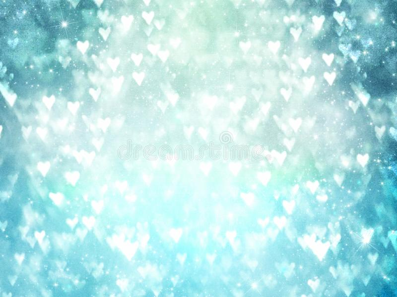 White hearts on blue blurred background. Illustration design. Glowing, light, bright, day, theme, screen, wallpaper, backdrop, group, love, many, valentines stock images