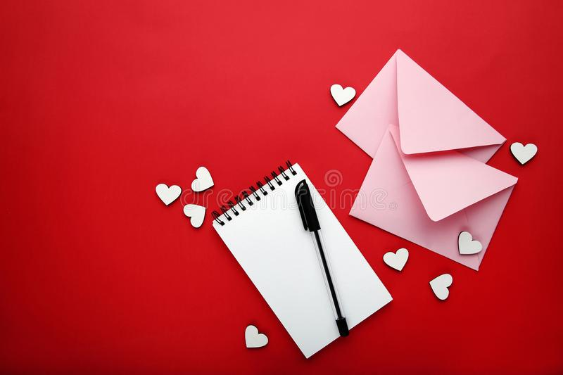 White hearts with envelopes royalty free stock image