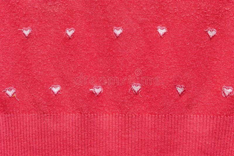 White Hearts on the Red Knitted Background. Fabric Cloth Inside Out View. Happy Valentine`s Day and Love Concept. Romantic Card,. Wedding Invitation, Banner royalty free stock photography