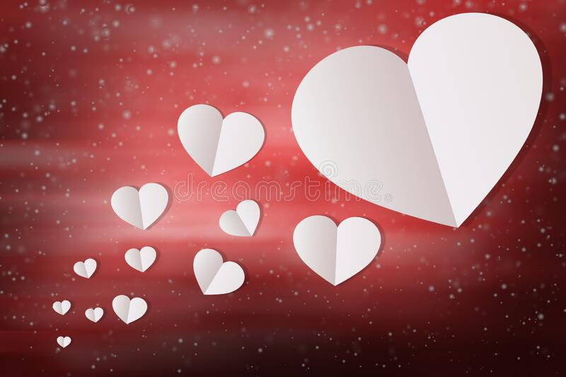 White Hearts Valentine Background using for Wallpaper, Valentines Red Abstract Wallpaper, Free Space for Text royalty free stock image
