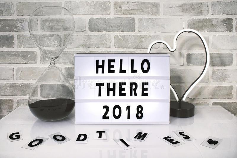 White Hello There 2018 Printed Board Against Gray Wall royalty free stock photography