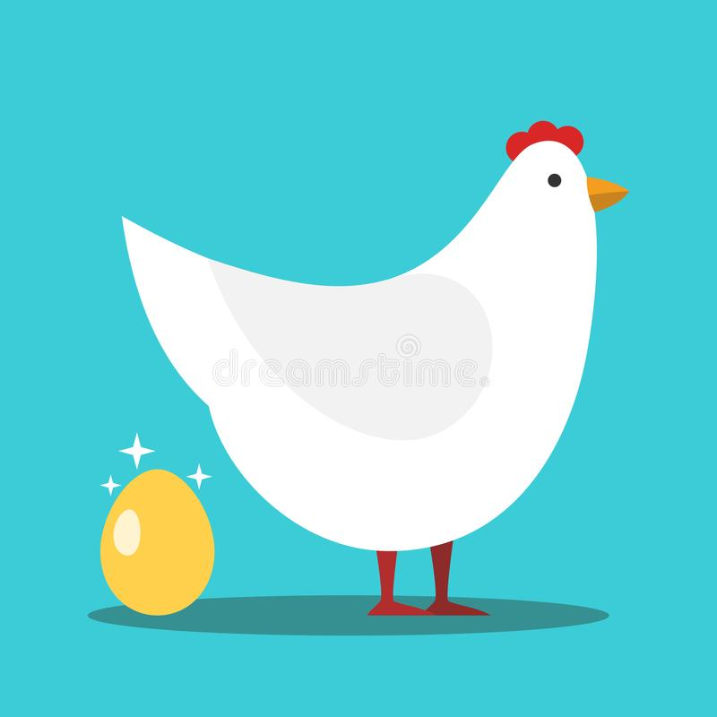 White hen laying shiny gold egg on turquoise blue background. Investment, wealth, profit and luck concept. Flat design. Vector. Illustration, no transparency stock illustration