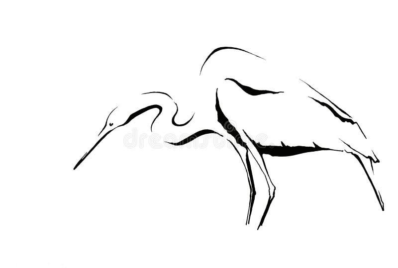 White bird ink sketch. A heron bird ink sketch in simple lines royalty free stock photos