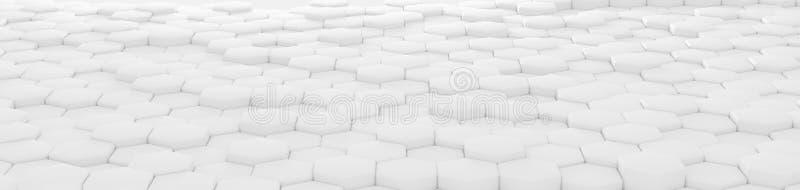 White hexagon abstract geometric background perspective 三维渲染 向量例证