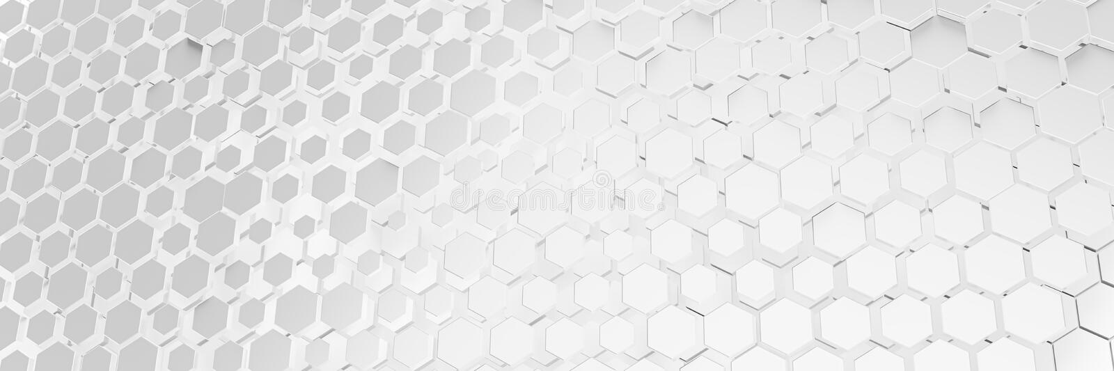 White hexagon background. 3d illustration of a white hexagon background royalty free illustration