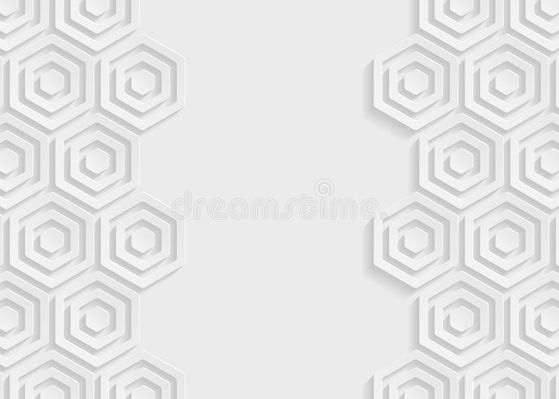 White hexagon paper abstract background stock illustration