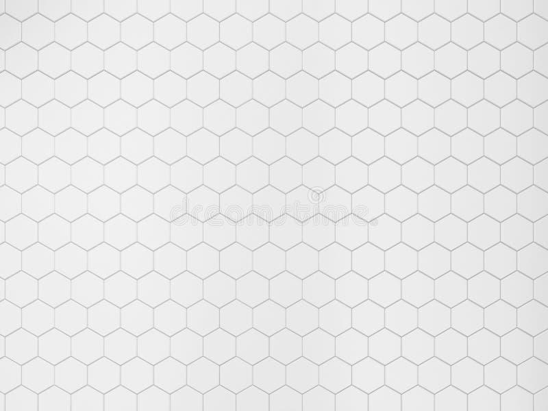 White hexagonal tile. 3d background royalty free illustration
