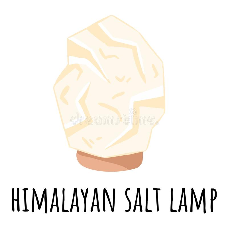 White Himalayan salt lamp. Vector logo template with salt crystal. Relax concept symbol spa image royalty free illustration