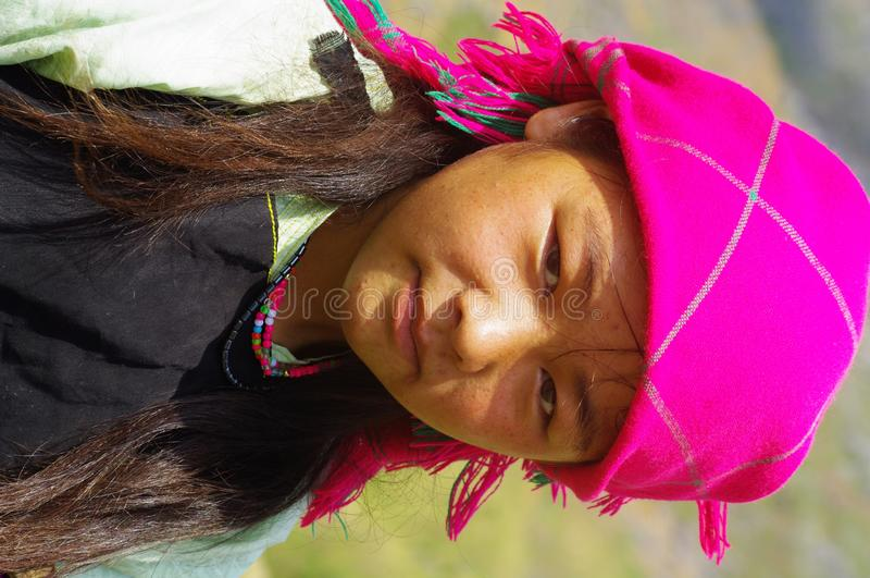 White Hmong Girl. Portrait of a White Hmong girl royalty free stock photo