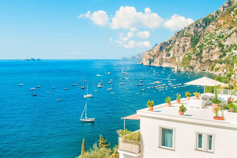 White holiday villa with sea and mountain view royalty free stock photography