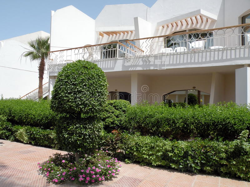 White home and beautiful garden. White home with balcony and beautiful plants in Hurghada town, Egypt royalty free stock photography