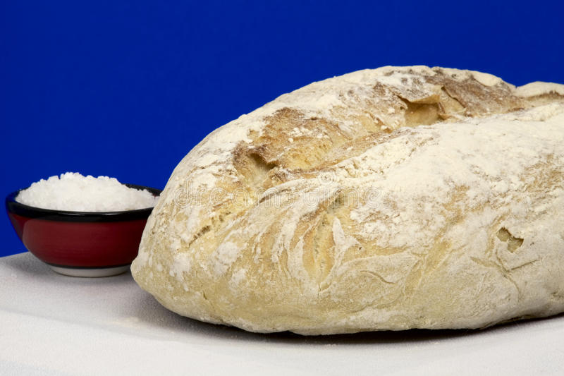 White homemade bread and salt royalty free stock images