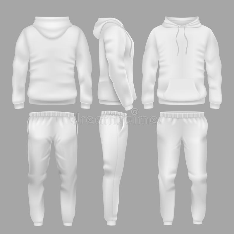 White hooded sweatshirt with sports trousers. Active sport wear hoodie and pants vector templates stock illustration