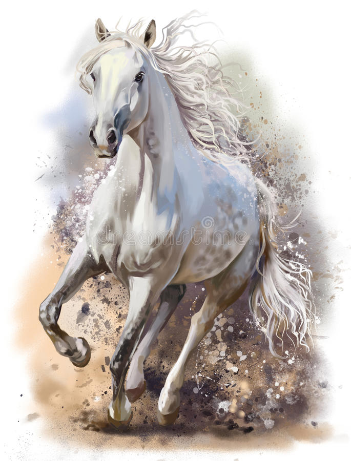 White horse runs. Watercolor painting vector illustration