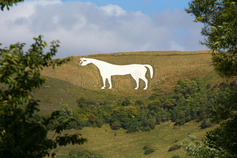 White Horse Westbury. View of the White Horse at Westbury, originally carved over 400 years ago and said to commemorate the battle of Ethandun when King Alfred stock photos