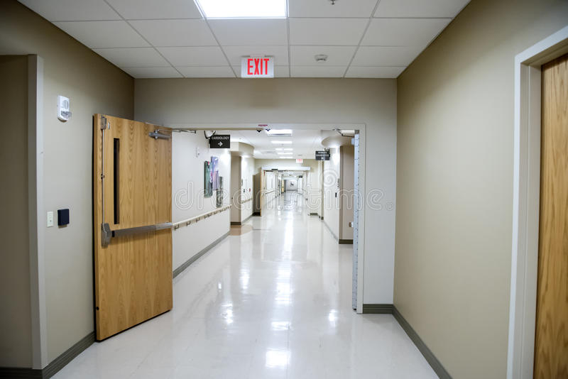 White hospital corridor royalty free stock photography