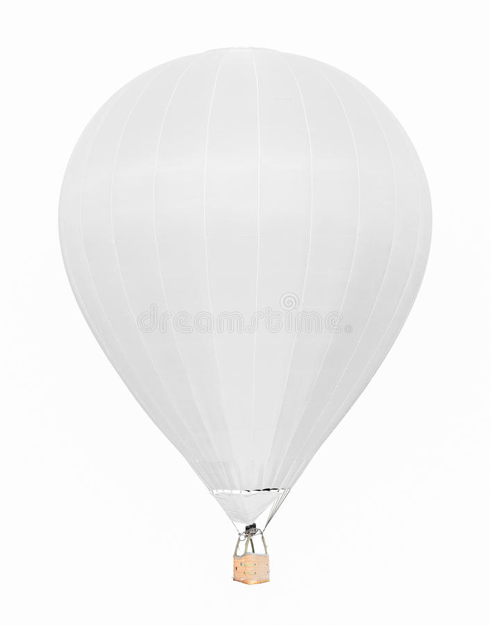 White hot air balloon with basket isolated on white background royalty free stock photo