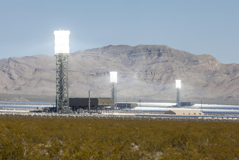 White Hot Mojave Desert Solar Power Towers royalty free stock image