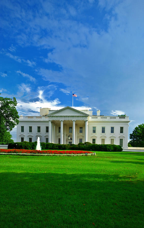 The White House. View of the the White House, seat of the President of the United States, accross the north lawn on a sunny summer day morning with a nice blue royalty free stock images