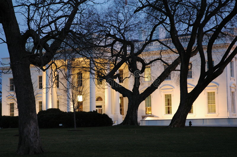 White house. At night through trees stock photography