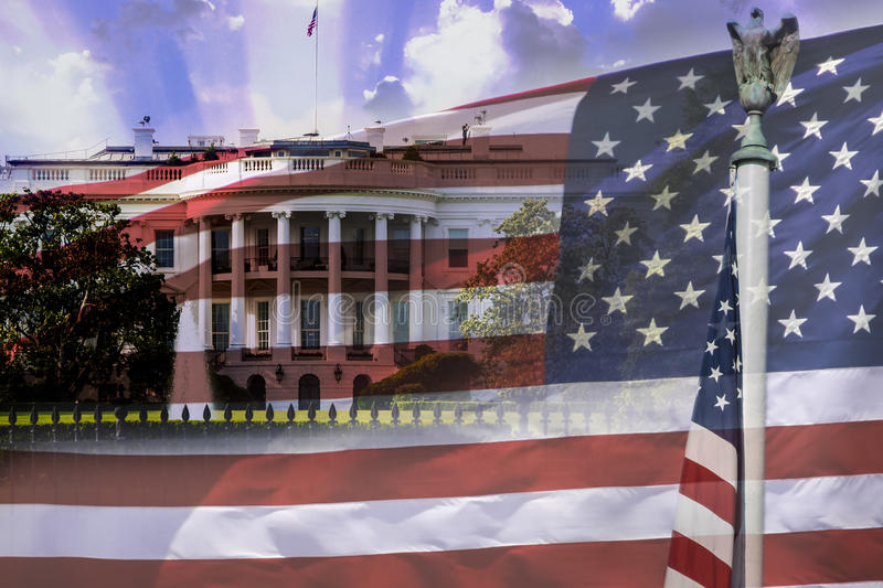The White House and the american flag, both USA symbols. Great for 4th of July, independence day, Memorial Day. Composition with the White House, american flag royalty free stock photos