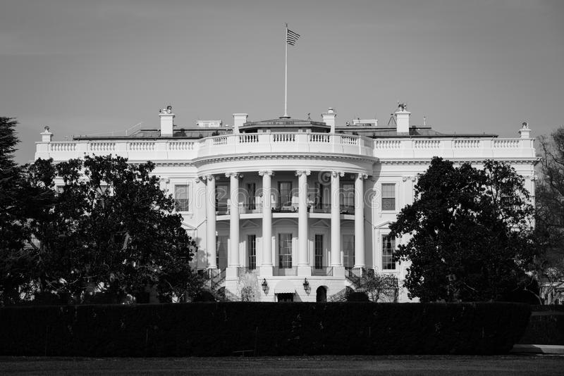 The White House in black and white - Washington DC, United States royalty free stock images