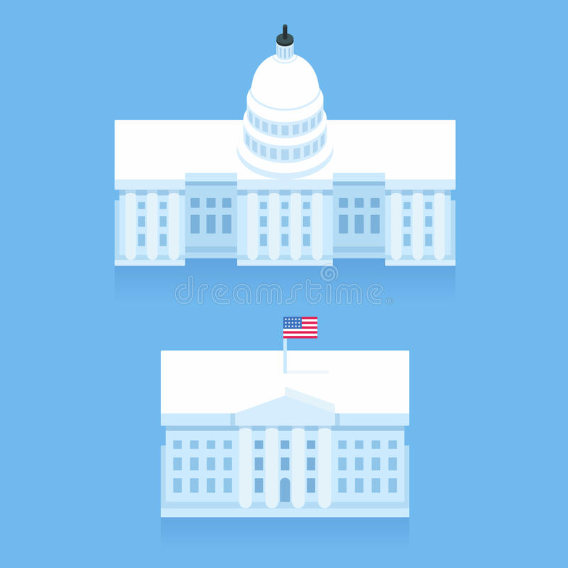White House and Capitol building vector illustration