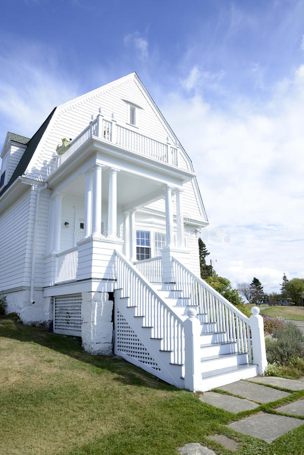 White house on the coast of Maine stock photography