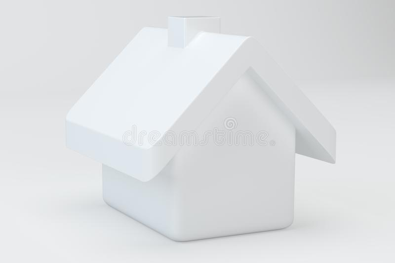 White house on gray background. Icon 3d rendering for web royalty free stock photo