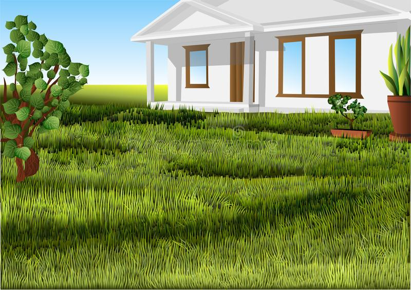 White house lawn. White house on a green lawn. 10 EPS royalty free illustration