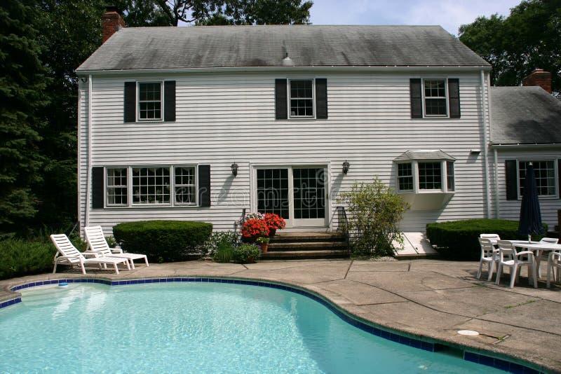 White house with pool stock photos